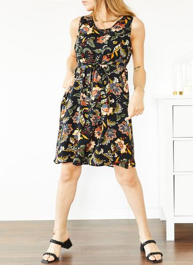 XHAN Siyah Çiçek Desenli Kolsuz Elbise 0Yxk6-43855-02 Siyah